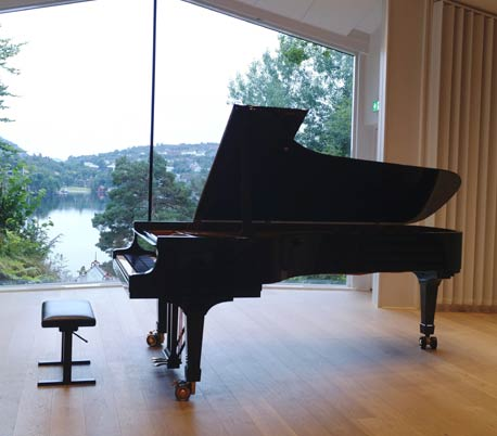 grand piano in modern room